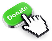 Green button donate and hand cursor — Stock Photo