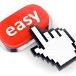 Red Easy button and hand cursor — Stock Photo #40444475