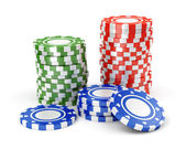Green, red and blue casino tokens — Stock Photo