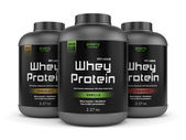 Three whey protein jars isolated on white — Stock Photo