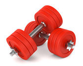 Red metal dumbells — Stock Photo