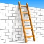 Ladder and white brick wall — Stock Photo #45415405