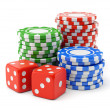 Gambling chips and dices — Stock Photo #47732661