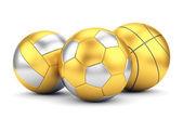 Golden volleyball, basketball and soccerball — Stok fotoğraf