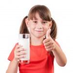 Постер, плакат: Little girl with a glass of milk