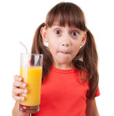 Girl with a glass of fresh juice — Stock Photo