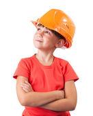Little girl in the construction helmet — Stock Photo