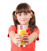 Little girl with juice in his outstretched hands — Stock Photo