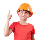 Girl in building helmet — Foto Stock