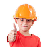 Girl in a protective helmet — Stock Photo