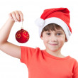 Girl in the image of Santa Claus — Stock Photo #14095957