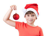 Girl in the image of Santa Claus — Stock Photo