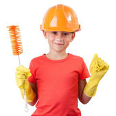 Child in a protective helmet — Stock Photo