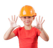 Cheerful child in a protective helmet — Stock Photo