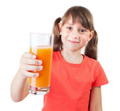 Little girl with a glass of fresh juice — Stock Photo