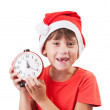 Pretty girl in the image of Santa Claus — Stock Photo