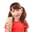 Little girl with ice cream in hand — Stock Photo