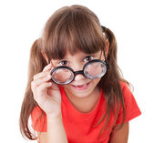 Girl with round glasses — Stock Photo