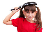 Little girl holding a frying pan — Foto Stock