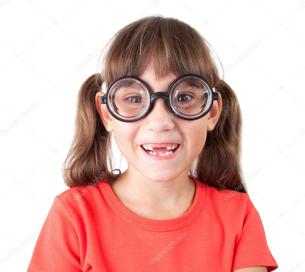 Cute smiling little girl in funny glasses — Stock Photo #15626847