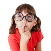 戴着眼镜的小女孩 — 图库照片