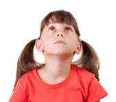 Dziewczynka w koszuli z ogonów — Zdjęcie stockowe