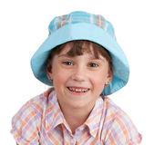 Cheerful little girl in blue panama — Stock Photo