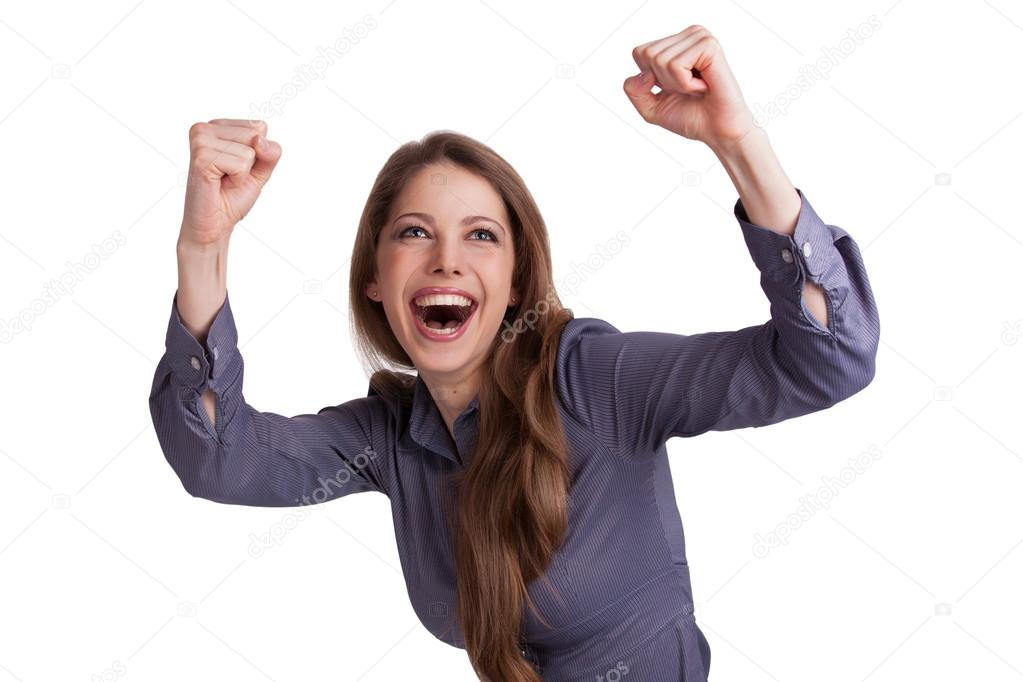 Beautiful woman enthusiastically raised her hands up — Stock Photo #18176713