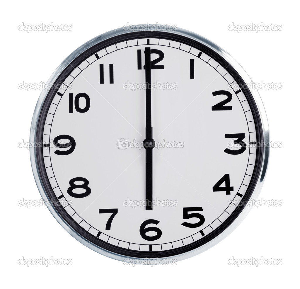Seis horas en el reloj de pared grande foto de stock - Reloj grande de pared ...