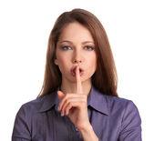 美丽的年轻女子呼吁保持沉默 — 图库照片