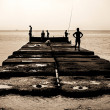 Old sea pier with - Stock Photo