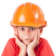 Little girl in a protective helmet — Stock Photo