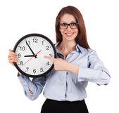 Mulher com uma camisa cinza com horas de escritório — Foto Stock
