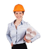 Woman in a helmet with construction plans — Stock Photo