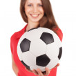 Girl holding a soccer ball — Stock Photo #23368760