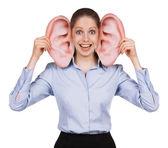 Genç kadın koca komik kulaklı — Stok fotoğraf