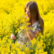 Stock Photo: Girl in field of yellow flowers