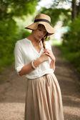 Young stylish girl sad about something — Stock Photo