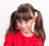 Little girl in a red T-shirt — Stock Photo