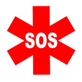 International SOS sign — Stock Photo
