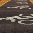 Road markings applied to asphalt — Stock Photo