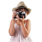 Little girl photographs — Stock Photo