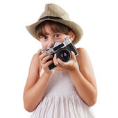 Girl with a film camera — Stock Photo