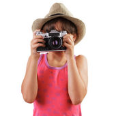 Girl with a film camera in the hands of — Stock Photo