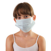 Sad girl in a medical mask — Foto Stock