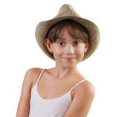 Charming girl in a straw hat — Stock Photo