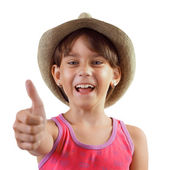 Cheerful happy charming girl in a hat — Stock Photo