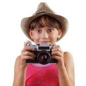 Happy girl with a film camera — Stock Photo
