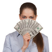 Woman with a fan of hundred dollar bills — Stock Photo