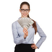 Girl in glasses with a fan of dollars — Stock Photo
